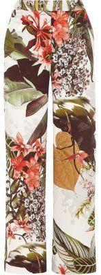 River Island Womens Cream tropical print wide leg pants