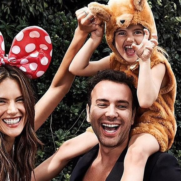 """""""Feliz dia das crianças"""" --Alessandra Ambrosio, who wished everyone a happy Children's Day in her native Portuguese by sharing this adorable family photo with her husband and daughter, Anja"""