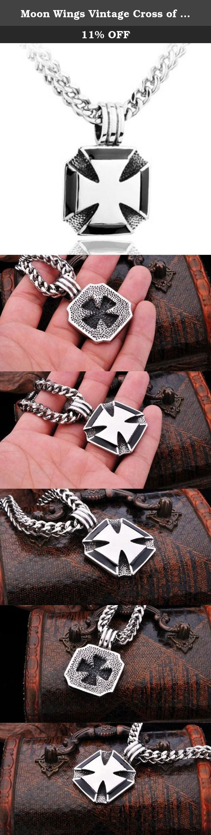 Moon Wings Vintage Cross of Iron Stainless Steel Men's Pendant with Necklace. This is a solid Pendant; Pendant Size: 47MM X 32MM; Necklace Length 60CM or 23.6 inches: Free Luxury jewelry box will be provided.