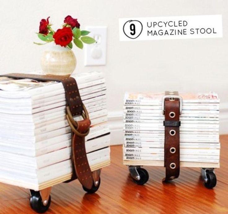 DIY magazine tafeltje. Een poef maken van oude tijdschriften? http://www.pieceofmake.nl/voor-in-huis/voetenbank