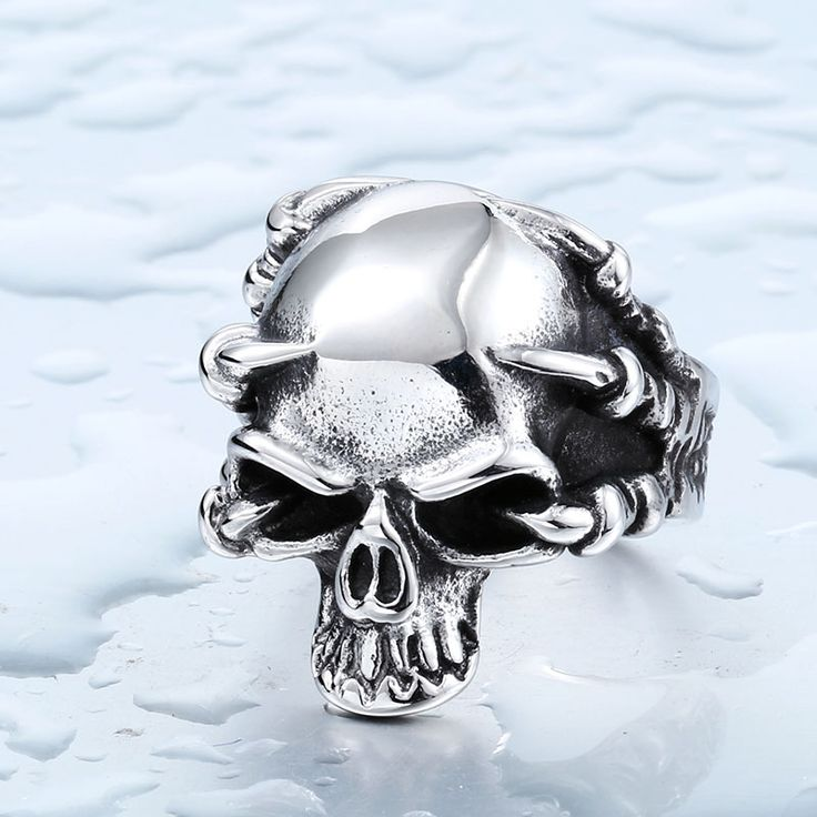 Drop Ship Wholesale 316L Stainless Steel Jewelry Men's Gothic Punk Claw Thingking Skull Skeleton Rings BR8-049  US Size