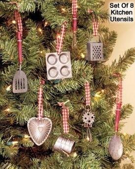 Miniature Kitchen Utensils Christmas Tree Ornaments Set