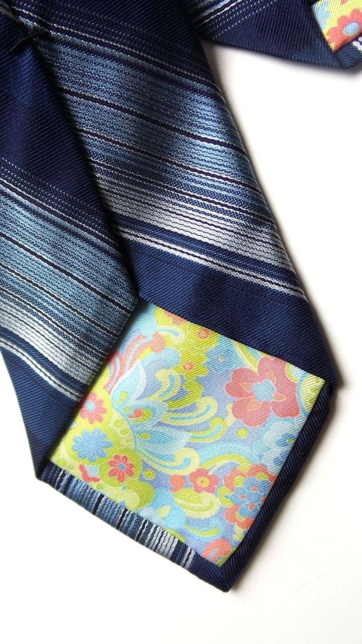 Ted baker london 100 silk men s blue hand tailored necktie striped tie ebay