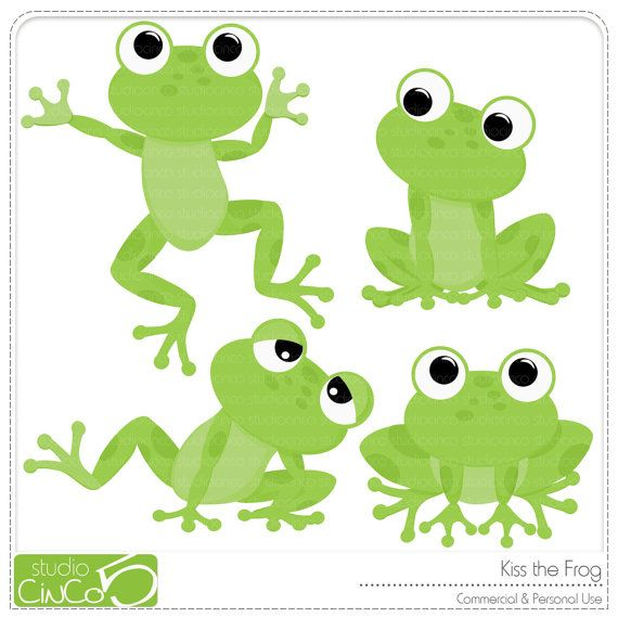 Kiss the Frog - Digital Clip Art , Commercial Use Clipart, Scrapbook, Printable - Instant Download