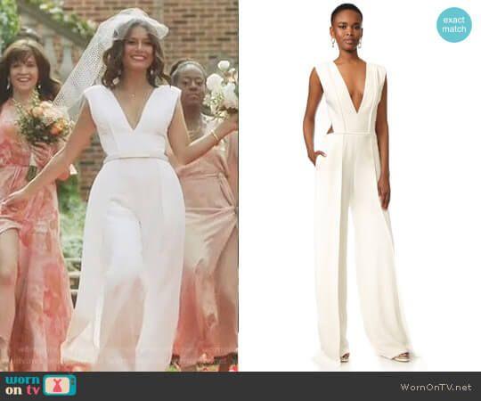 b6e3a2a3901d Cristal s white deep v jumpsuit on Dynasty. Outfit Details  https   wornontv