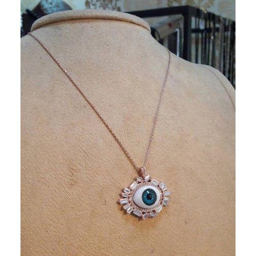 925ayar Rose Gümüş Baget Zirkontaşlı Göz Kolye