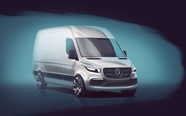 Download wallpapers Mercedes-Benz Sprinter, 2018, 4k, cargo minibus, new Sprinter, concepts, delivery of goods, Mercedes
