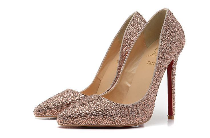 Christian Louboutin 12CM Champagne Rhinestone Pointed Pumps