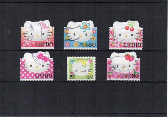 6 Cute stamps Hello Kitty, Japanese postage. Fruit Japan, Asian, crafts or collecting, decoupage, scrapbooking, craft or art supply.