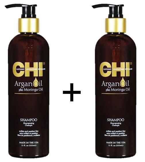 CHI Argan Oil Shampoo Duopack 2 Stuks  Description: CHI Argan Shampoo 2x CHI Argan Shampoo is een luxe shampoo verrijkt met Argan en Moringa olie die vele vitaminen bevatten. Het houdt kroezend en pluizend haar onder controle met een gladde en glanzende finish. Uw haar word hersteld en de CHI Argan Shampoo geeft het haar intense hydratatie wat ideaal is voor droog en beschadigt haar. CHI Argan Shampoo bevat Vitamine E Omega vetzuren en andere essentiële oliën wat het haar direct voedt vanaf…