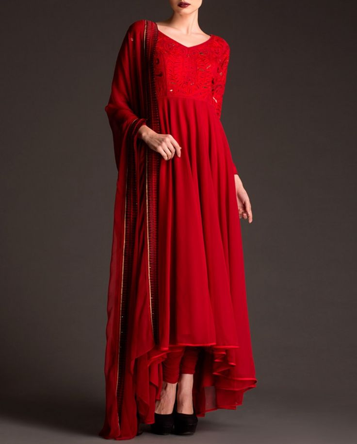 Fiery Red Anarkali Suit with Embroidered Yoke