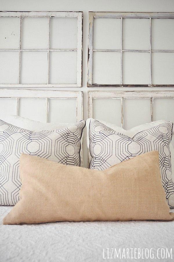Middle Guest Bedroom - New Paint Color Sneak Peek. Old Window HeadboardWhite ... & Best 25+ Window headboard ideas on Pinterest | Window behind bed ... Pezcame.Com