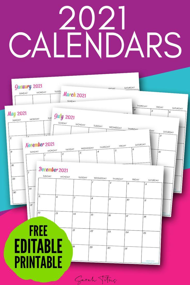 Custom Editable 2021 Free Printable Calendars in 2020
