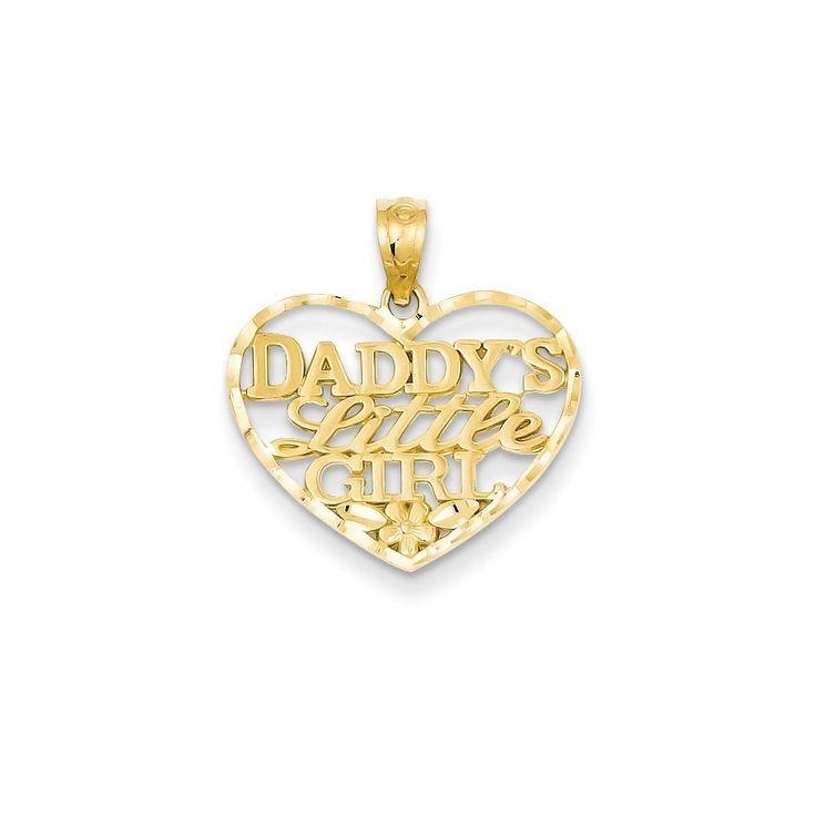14k Yellow Gold Diamond-cut Daddy's Little Girl Heart Pendant (Yellow)