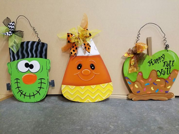 halloween door hangers - Wooden Halloween Decorations