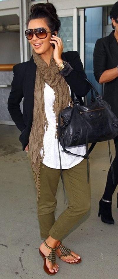 Khaki pants, navy blazer, white top, brown scarf, navy bag , brown studded sandals - Kim Kardasian Casual Fall / Autumn