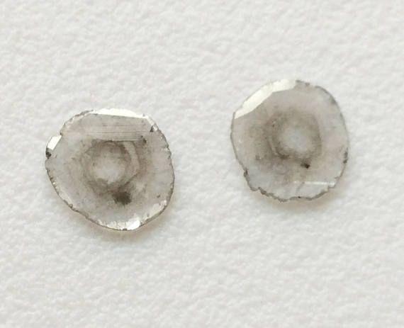 2 Pcs Rare Diamond Slice 8mm Natural Black & White Loose