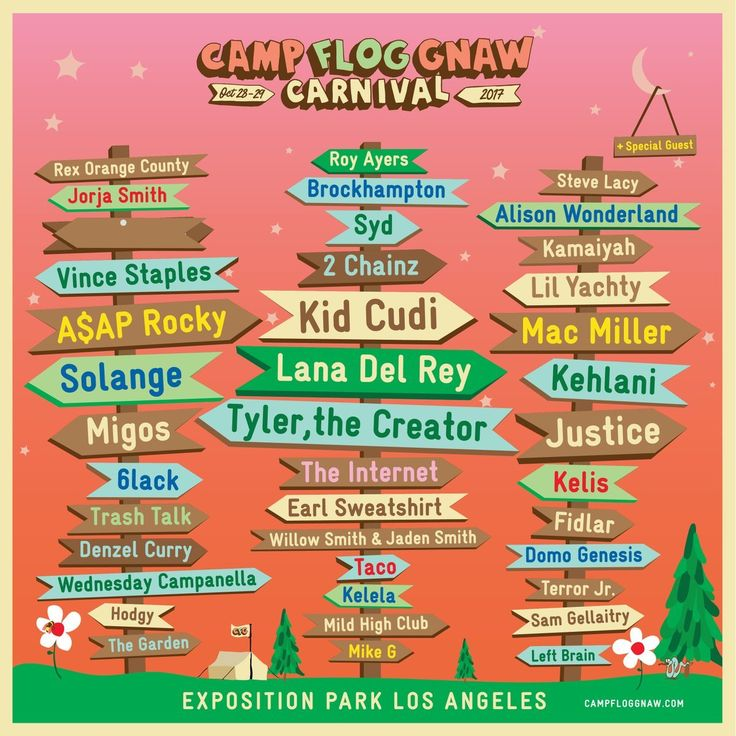 Lana Del Rey, Kid Cudi, Solange Playing Tyler, The Creator's Camp Flog Gnaw '17 https://link.crwd.fr/1YBS