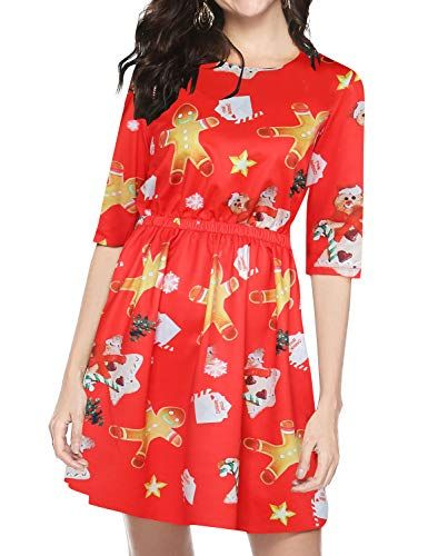 New FANCYINN Women Ugly Sweater Christmas Party Dress Fit Flare A