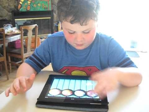 Leo Playing PianoBall iPad App
