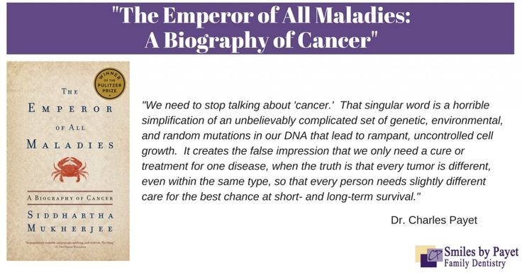 """Charlotte dentist Dr. Payet reviews """"The Emperor of All Maladies"""" &…"""