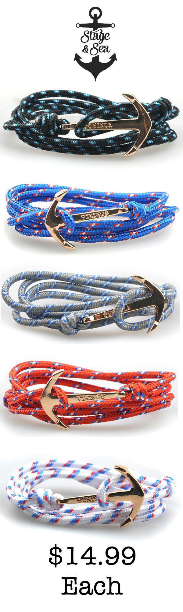 The Anchor bracelet series  from Stage and Sea // Mens fashion accessories inspired by the ocean // The Anchor bracelet is made of a parachute cord strap combined with a zinc alloy anchor. The strap is adjustable, so one sizes fits all. Inspired by the ocean and outdoors, this bracelet is suitable for all occasions //