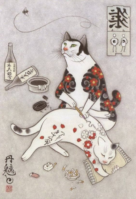 "dagneyrobertson:  "" egelantier:  ""kazuaki horitomo's tattooed cats.  ""  Brilliant mind.  ""  I now want a tattooed yakuza cat…"