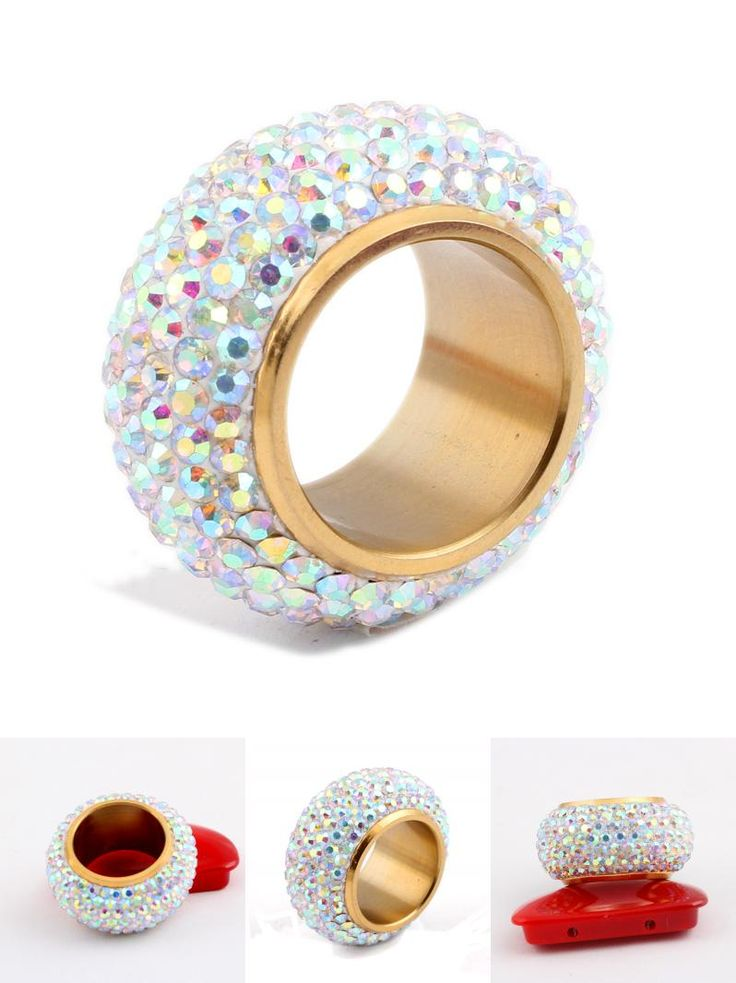 [Visit to Buy] Fashion shining full rhinestone Crystal rings for women luxurious Wedding Ring Jewelry gold-Color #Advertisement