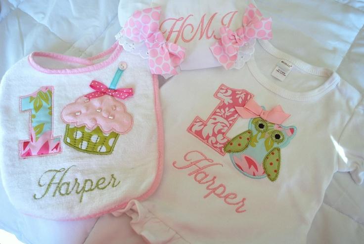 1st Birthday Girl Shabby Chic Owl Set, Shirt or Onesie, Bib, Bloomers, Personalized Owl Birthday or Custom Theme. $55.00, via Etsy.