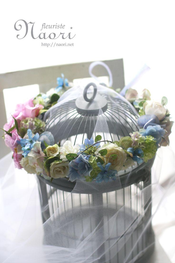 ブルースターとローズの花冠 ワイヤープランツ ブルー×パープル  ウェディング Flower crown / Blue Purple / Rose, Tweedia,  Maidenhair Vine / Wedding