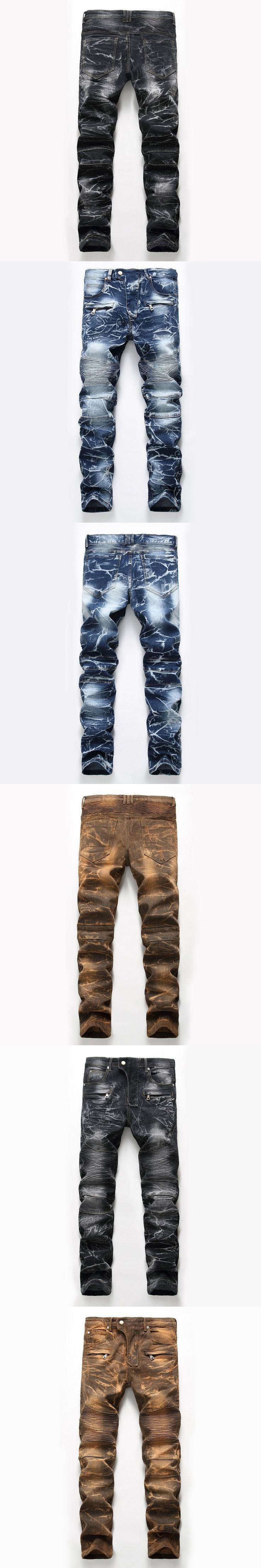 Dropshipping Biker Jeans Men Motorcycle Pants Slim Fit Moto Jean Trousers For Male Hi-Street Straight Pleated Gold Denim Pants