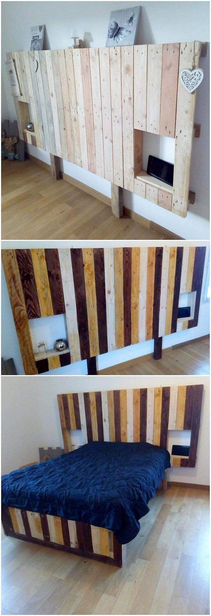 Having an inclusion of the headboard bed creation structure is the main want in almost all the houses and choosing the wood pallet cabinet is the ultimate best idea for you. As you can view in this image, here the wood pallet headboard that is rustic shaded in old fashion furniture mode. #homeimprovementandlastmanstanding,
