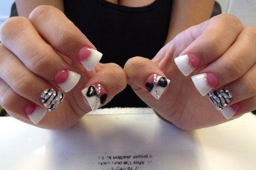wide Nails   nails nail art flare nails fan nails bow cute
