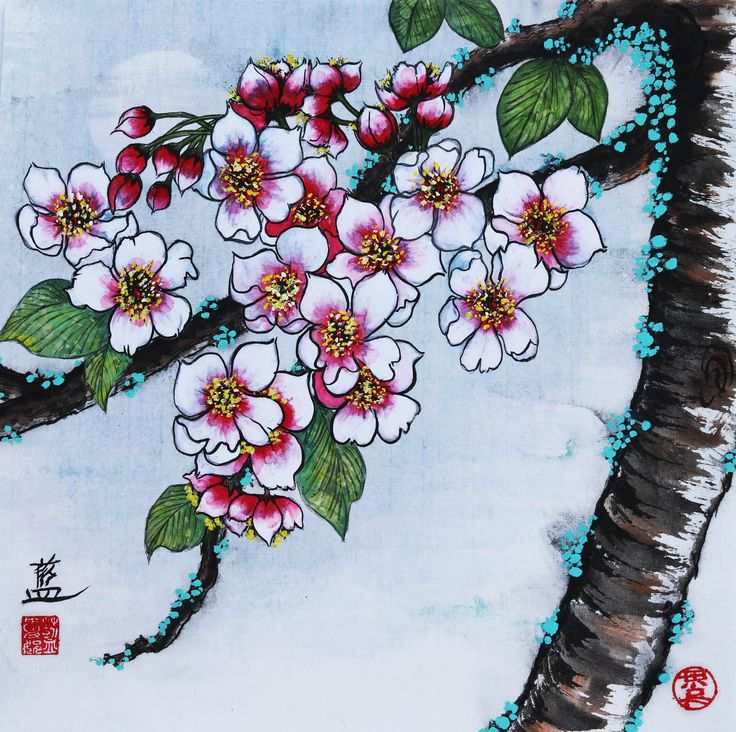 """""""Blossoms by Hazy Moonlight"""" painted by fb.com/ConnieLamART on sized xuan paper"""