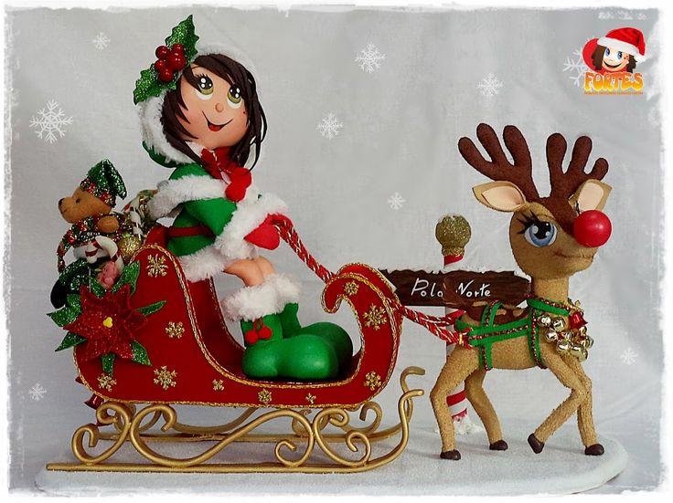 mamá Noel y Rudolf en su trineo
