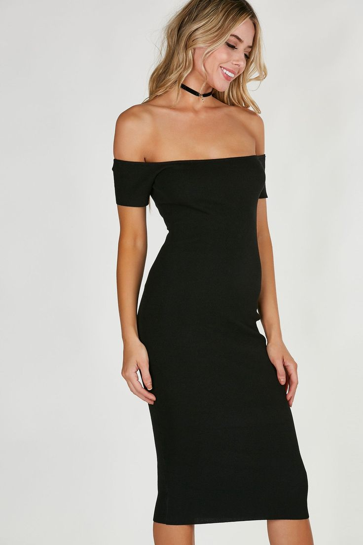 Ribbed off shoulder midi dress with flattering fit all around. Sexy cut out back with lace up closure. - Rayon-Nylon blend - Imported - Model is wearing size S - Runs true to size - Hand wash cold - A