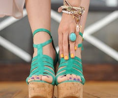 teal wedges: Yellow Nails, Nailpolish, Colors, Summer Shoes, Sandals, Rings, Nails Polish, Accessories, Teal Wedges
