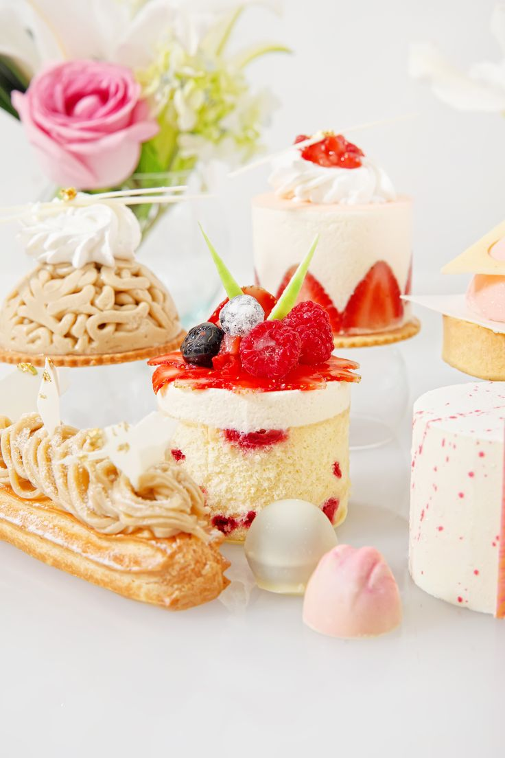 * Fraisier * Mont Blanc * Berries Charlotte * Vanilla Raspberry Rose Mousse * Mont Blanc Eclair