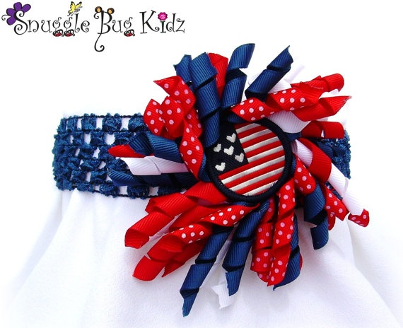 Brand New...Red, White, and Blue Patriotic headband by Snuggle Bug Kidz