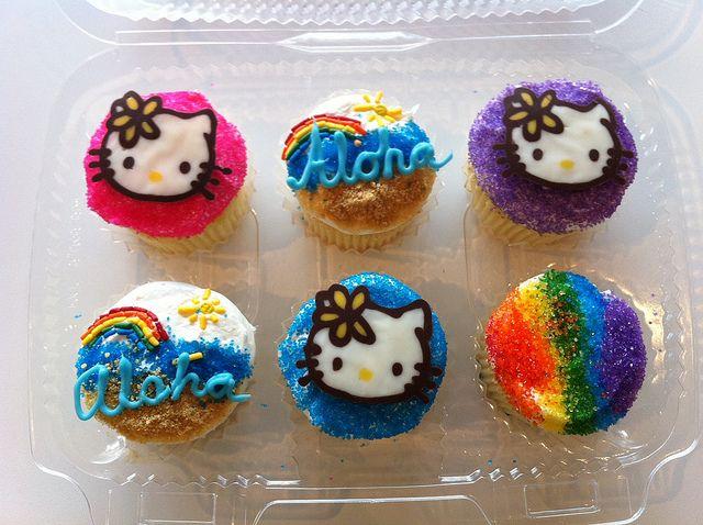 Hello Kitty, aloha and rainbow cupcakes by Angel Cakes Hawaii! http://cupcakestakethecake.blogspot.com/2012/02/aloha-hello-kitty-and-shaved-ice.html