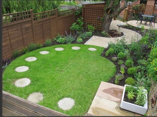 well thought out design to make the most of a smallish backyard circular circular lawnsmall garden designcircular garden - Small Garden Design Examples