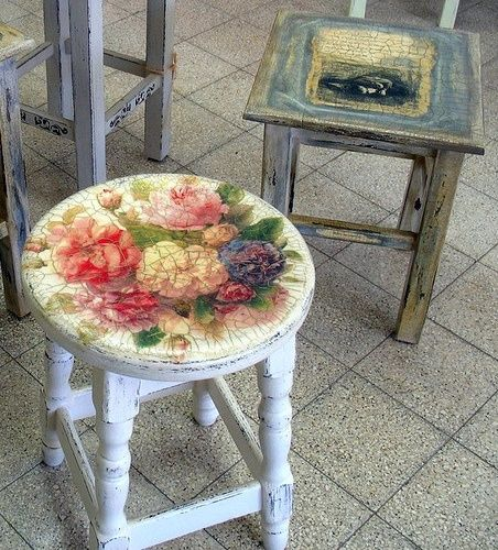 Decoupage...what if I did this this with that little table in the bath...?