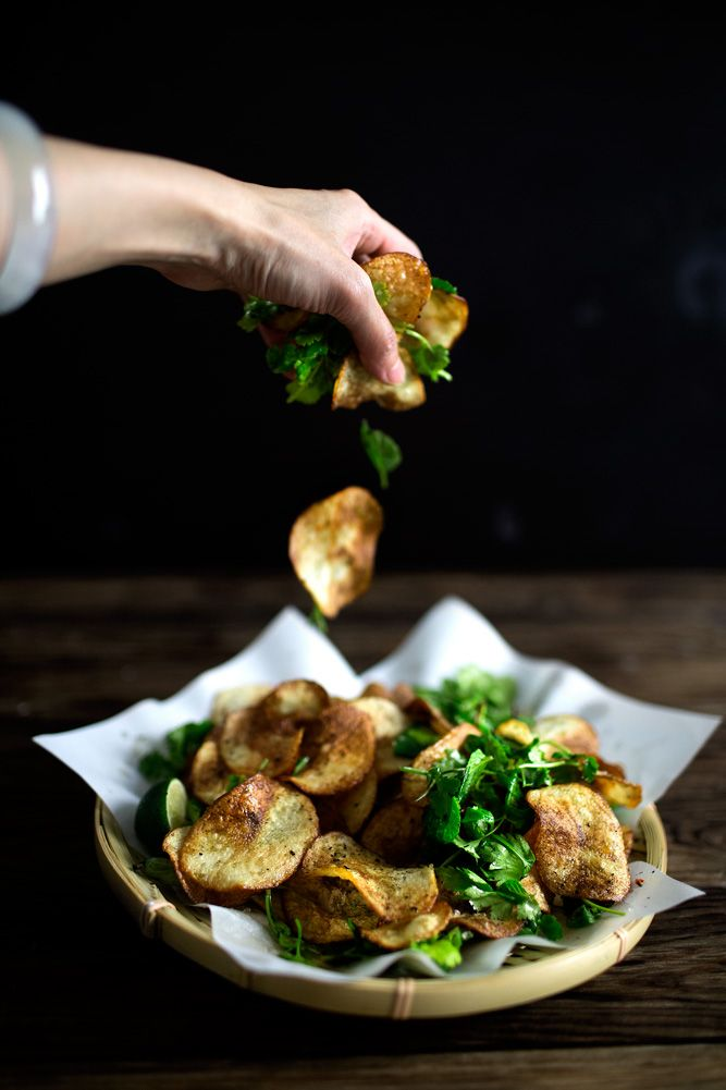 Potato chips and Thai herbs salad.