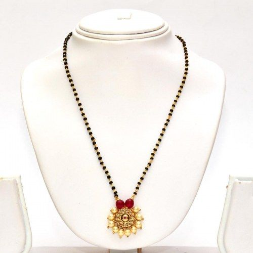 Anvi's black beads chain with uncut stones centered with ruby and surrounded by pearls - Online Shopping for Necklaces by Anvi Collections