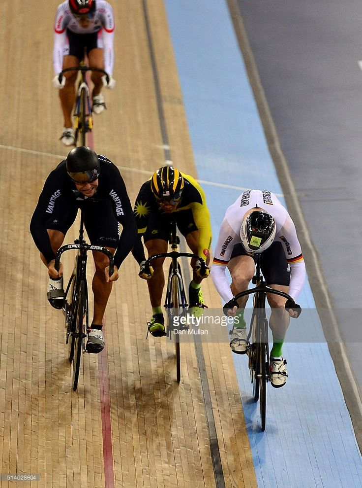 Joachim Eilers of Germany (R) beats New Zealand's Edward Dawkins (R) to win the Men's Keirin final during Day Five of the UCI Track Cycling World Championships at Lee Valley Velopark Velodrome on March 6, 2016 in London, England. #TWC2016 #rm_112
