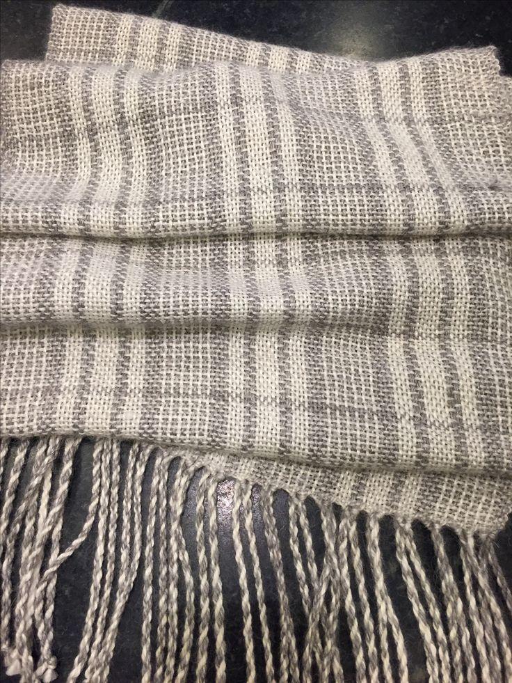 Barbara Pickel - handwoven wool/silk scarf, off the loom, after washing.