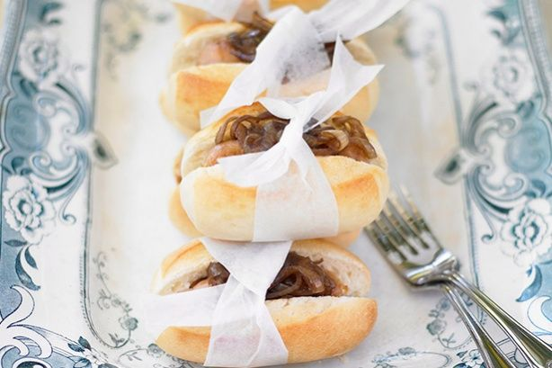 Good things can come in small packages - serve these tasty carmelised onion and chipolata rolls as a starter or finger food for your next dinner party.