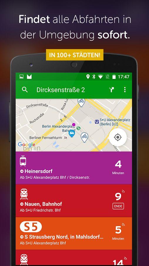 Transit App: Routenplaner, Echtzeit-Positionen, Fahrpläne (offline), Verkehrsmeldungen, Alarm, intermodal _bisher in D nur in: berlin-brandenburg, Hamburg, Ulm