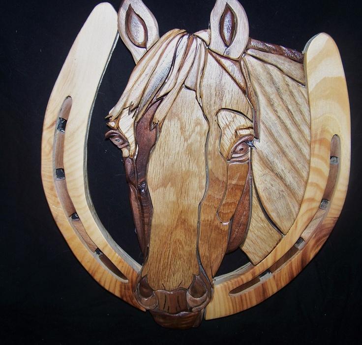 INTARSIA HORSE by WoodenArtbyTom, via Etsy.