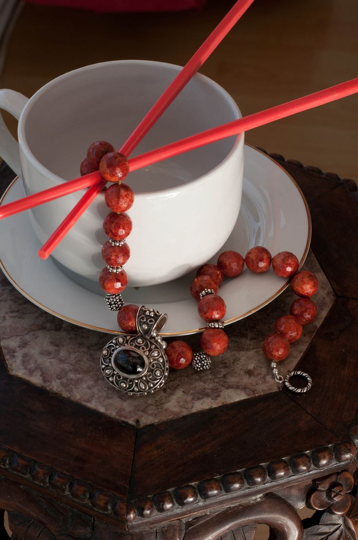 Amy Ming's Red Coral Cup of Tea necklace